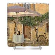 Un Ombra In Cortile Shower Curtain by Guido Borelli