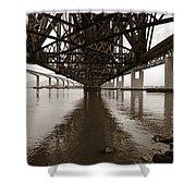 Under Bridges Shower Curtain by Donna Blackhall