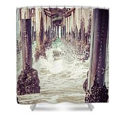 Under The Pier Vintage California Picture Shower Curtain by Paul Velgos