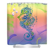 Under The Sea Horse Shower Curtain by Cheryl Young