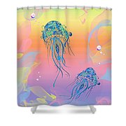 Under The Sea Jelly Fish Shower Curtain by Cheryl Young