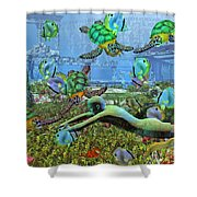 Under the Sea V Shower Curtain by Betsy C  Knapp