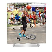 Unicyclist - Basketball - Street Rules  Shower Curtain by Mike Savad