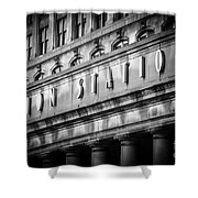 Union Station Chicago Sign In Black And White Shower Curtain by Paul Velgos