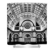 Union Station Lobby Black and White Shower Curtain by Kristin Elmquist