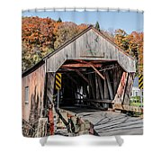 Union Village Covered Bridge Thetford Vermont Shower Curtain by Edward Fielding