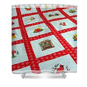Unique Quilt With Christmas Season Images Shower Curtain by Barbara Griffin
