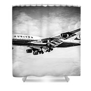 United Airlines Boeing 747 Airplane Black And White Shower Curtain by Paul Velgos
