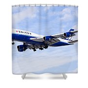 United Airlines Boeing 747 Airplane Flying Shower Curtain by Paul Velgos