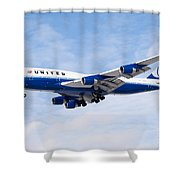 United Airlines Boeing 747 Airplane Landing Shower Curtain by Paul Velgos