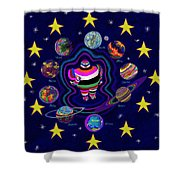 United Planets Of Eurotrazz Shower Curtain by Robert SORENSEN