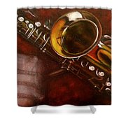 Unprotected Sax Shower Curtain by Sean Connolly