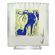 Untitled Shoe Print In Blue And Green Shower Curtain by Lauren Luna
