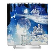 Up In The Air Shower Curtain by Mo T