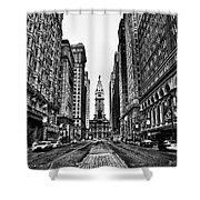 Urban Canyon - Philadelphia City Hall Shower Curtain by Bill Cannon