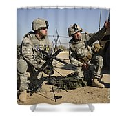 U.s. Army Soldiers Setting Shower Curtain by Stocktrek Images