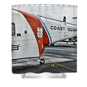 US Coast Guard Helicopter Shower Curtain by Paul Ward