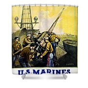 US Marines Shower Curtain by Leon Alaric Shafer