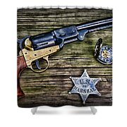 Us Marshall - American Justice - Cowboy Shower Curtain by Paul Ward