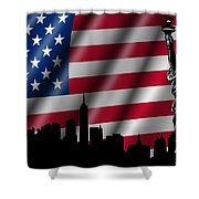 Usa American Flag With Statue Of Liberty Skyline Silhouette Shower Curtain by David Gn