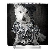 Vacation Dog With Camera And Hawaiian Shirt Shower Curtain by Edward Fielding