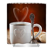 Valentine's Day Coffee Shower Curtain by Amanda Elwell