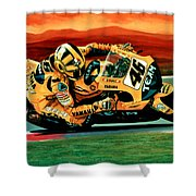 Valentino Rossi The Doctor Shower Curtain by Paul Meijering