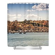 Port Of Valleta Shower Curtain by Maria Coulson