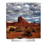 Valley Of The Gods Stormy Clouds Shower Curtain by Robert Bales
