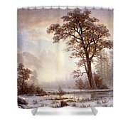 Valley Of The Yosemite Snow Fall Shower Curtain by Albert Bierstadt