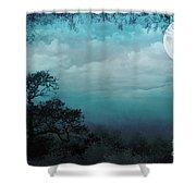 Valley Under Moonlight Shower Curtain by Bedros Awak