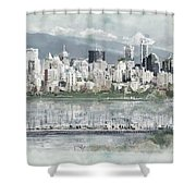 Vancouver Skyline Shower Curtain by Maryam Mughal