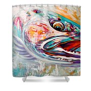 Vanishing Native - Steelhead Trout Flyfishing Art Shower Curtain by Savlen Art