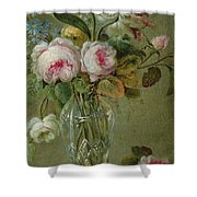 Vase Of Flowers On A Table Shower Curtain by Michel Bellange