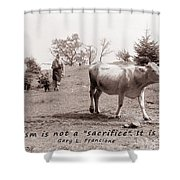 Veganism Is A Joy Shower Curtain by Janice Rae Pariza