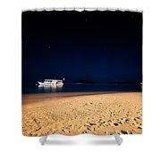 Velvet Night On The Island Shower Curtain by Jenny Rainbow