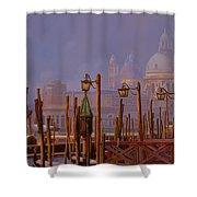 Venezia E La Nebbia Shower Curtain by Guido Borelli