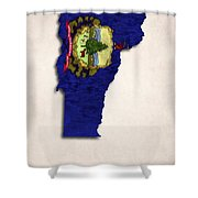 Vermont Map Art With Flag Design Shower Curtain by World Art Prints And Designs