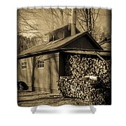 Vermont Maple Sugar Shack Circa 1954 Shower Curtain by Edward Fielding