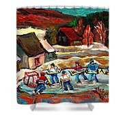 VERMONT POND HOCKEY SCENE Shower Curtain by CAROLE SPANDAU