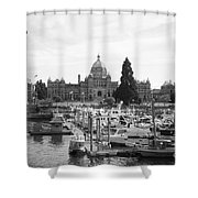 Victoria Harbour With Parliament Buildings - Black And White Shower Curtain by Carol Groenen