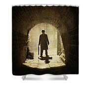 Victorian Man Standing Beneath An Arch Shower Curtain by Lee Avison