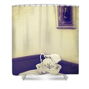 Victorian Wash Basin And Jug Shower Curtain by Amanda And Christopher Elwell