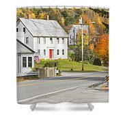 Vienna Maine In Fall Shower Curtain by Keith Webber Jr