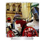Vieux Port Caleche Scene White Horse Red Wheels Trots Along Cobbled Stones Streets Carole Spandau Shower Curtain by Carole Spandau