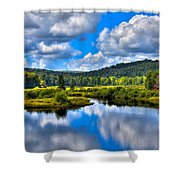 View From The Green Bridge In Old Forge Ny Shower Curtain by David Patterson