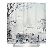 View Of Buckingham House And St James Park In The Winter Shower Curtain by John Burnet