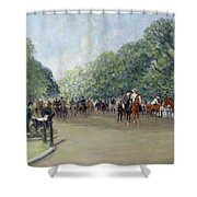 View Of Hyde Park With Figures On Rotten Row  Shower Curtain by Albert Jnr Ludovici