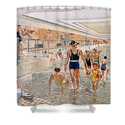View Of The First Class Swimming Pool Shower Curtain by French School