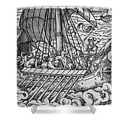 Viking Ship Shower Curtain by German School